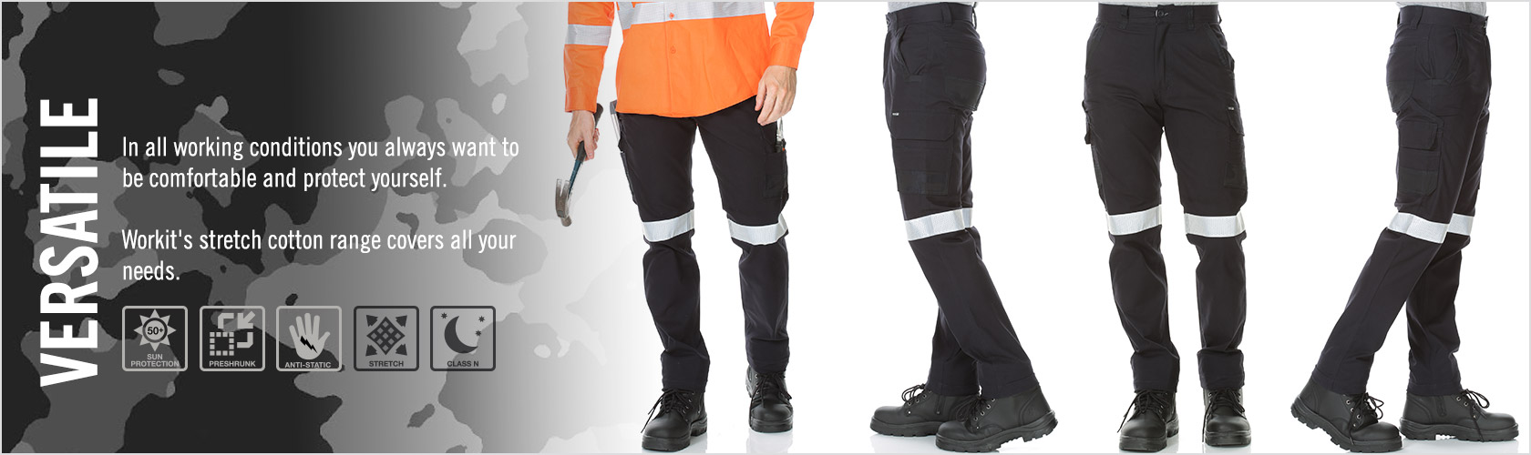 WORKIT® Stretch Canvas Cargo Pants with Breathable Reflective Tape
