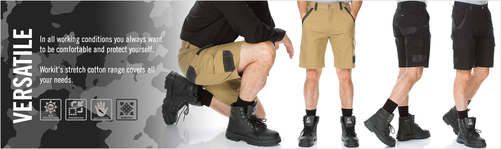WORKIT® Stretch Canvas Cargo Shorts