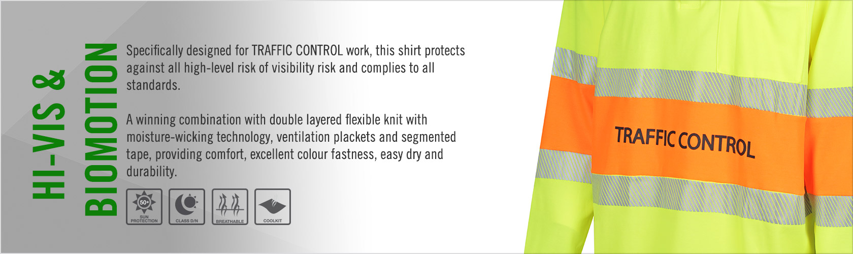 Hi Vis 2-Tone Polo Shirt Long Sleeve Poly Cotton Back with Reflective Tape - Traffic Control