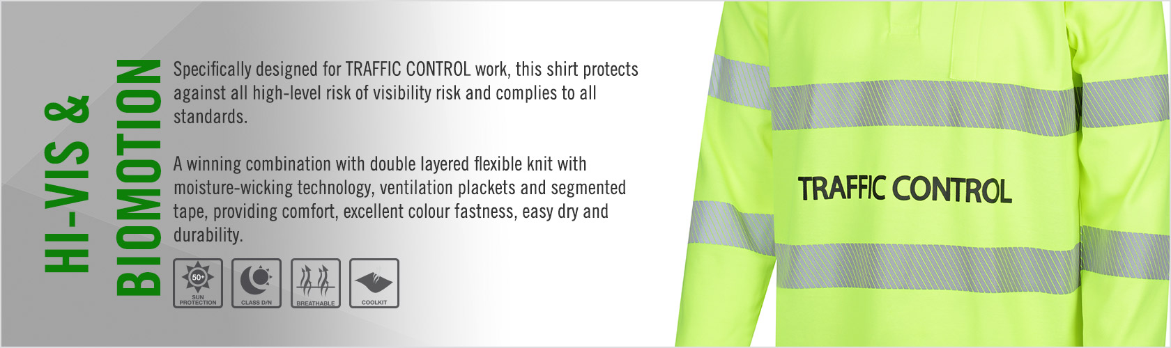 Hi Vis Polo Shirt Long Sleeve Poly Cotton Back with Reflective Tape - Traffic Control