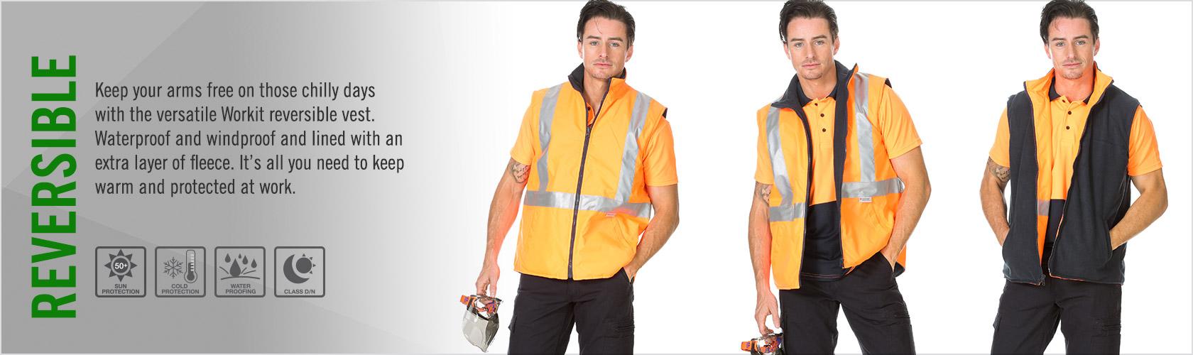 Cold & Wet Weather | WORKIT® Hi-Vis Reversible Vest with