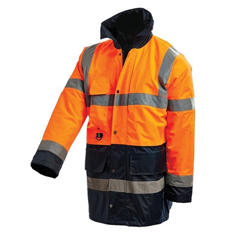 WORKIT® Hi Vis 2-Tone 3/4 Length Wet Weather Jacket with Reflective Tape