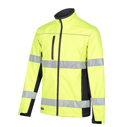 WORKIT  Hi-Vis Soft Shell 2 in 1 Jacket with Detachable Sleeves and Biomotion Reflective Tape